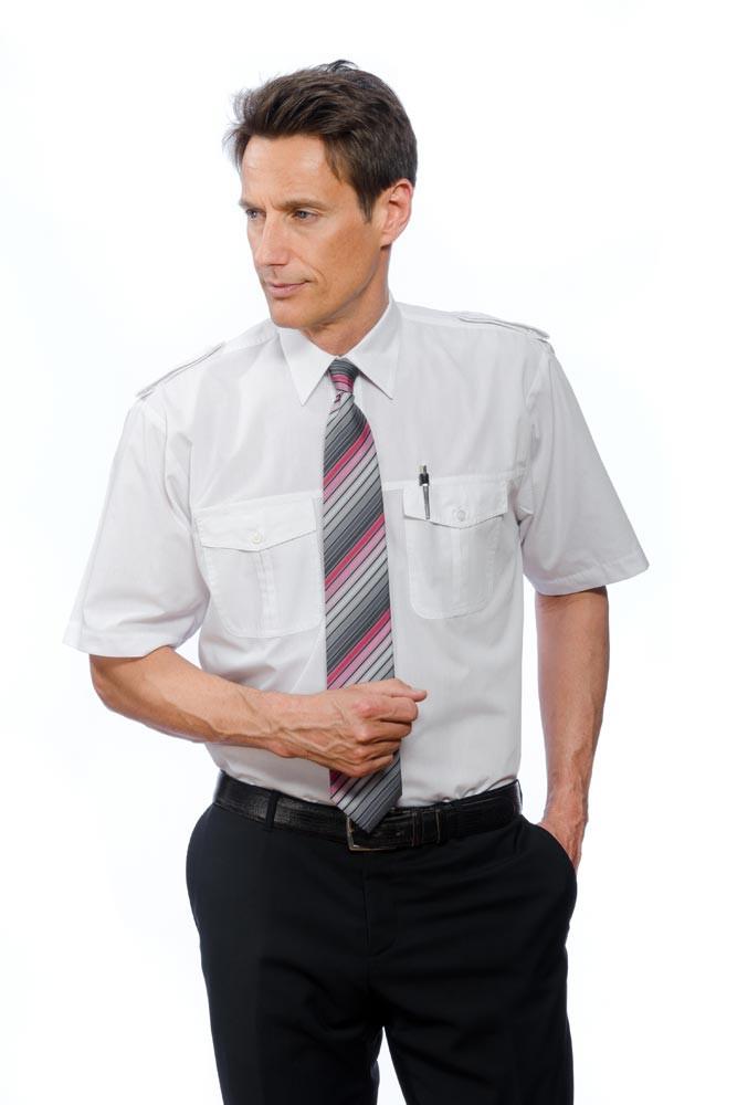 Pilotenhemd mit Steg kurzarm