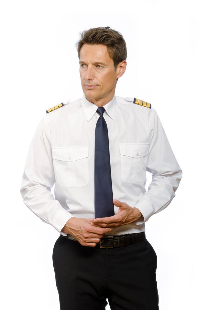 Pilotenhemd 100% Baumwolle langarm