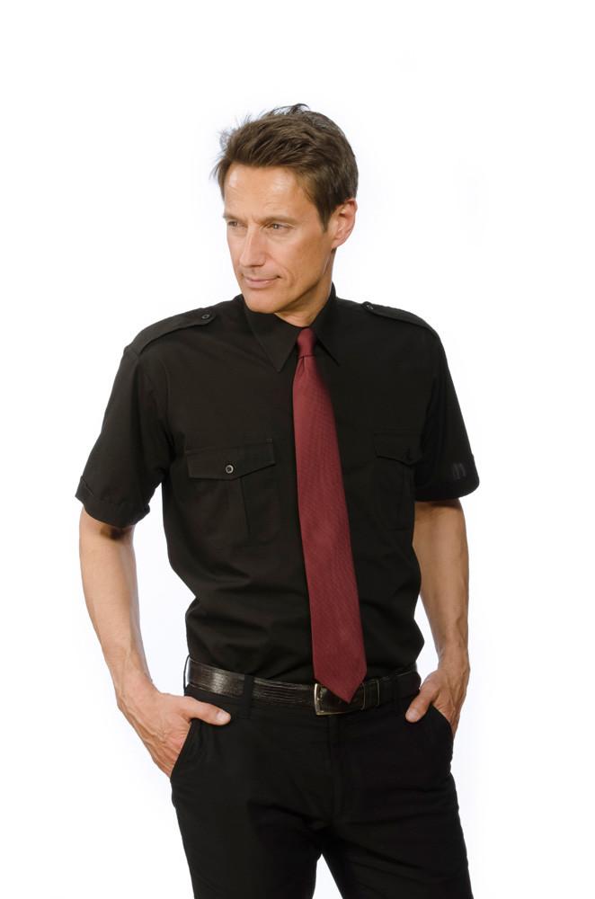 Pilotenhemd in schwarz kurzarm