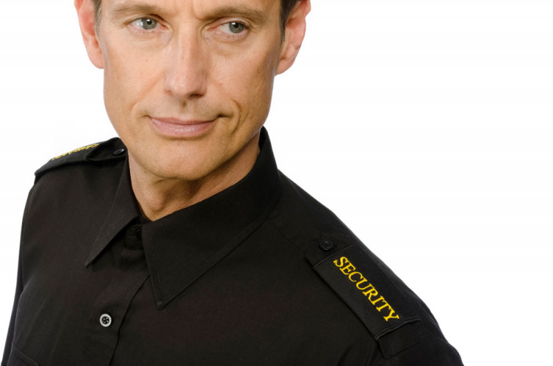 Schulterabzeichen Security gold auf schwarz