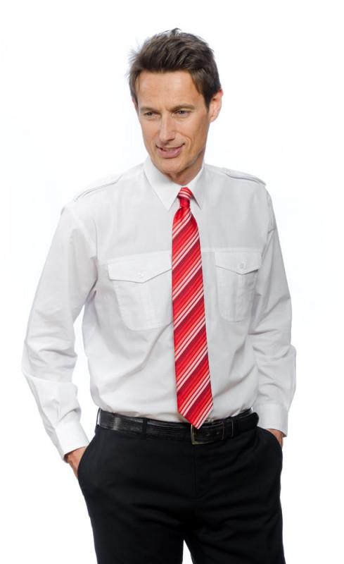 Pilotenhemd langarm mit Steg